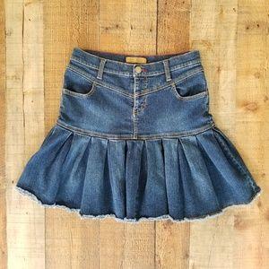 Tommy Hilfiger Pleated Denim Jean Mini Skirt